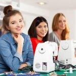 beginners sewing day - young women enjoying their beginners sewing class