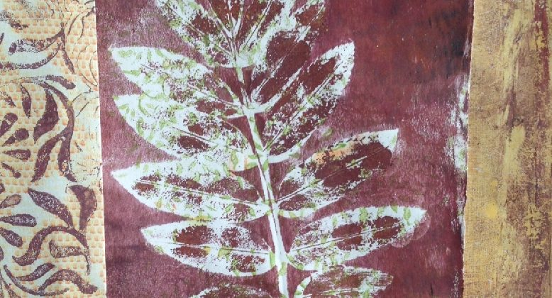 Monoprinting for stitch. A collage of printed papers, including a leaf print ready for embroidery