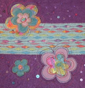 An Applique sketchbook cover by Textile Artist, Jen Skedd