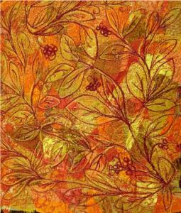 Autumn-inspired free-motion embroidery for cushion panel By Jen Skedd