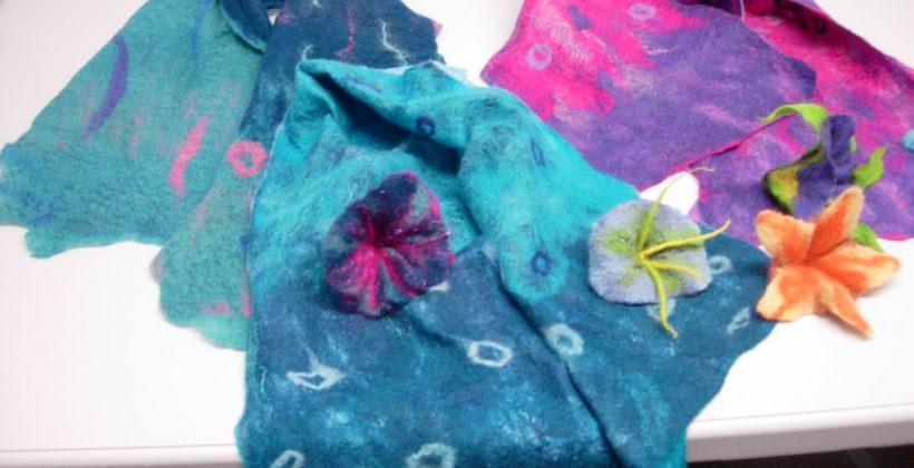 Felting workshop. Brightly-coloured scarves in soft merino fibres