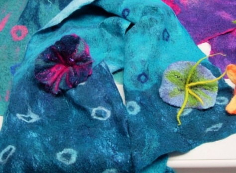 Felt scarf flowers beads. Accessories made from bright and soft merino wool fibres
