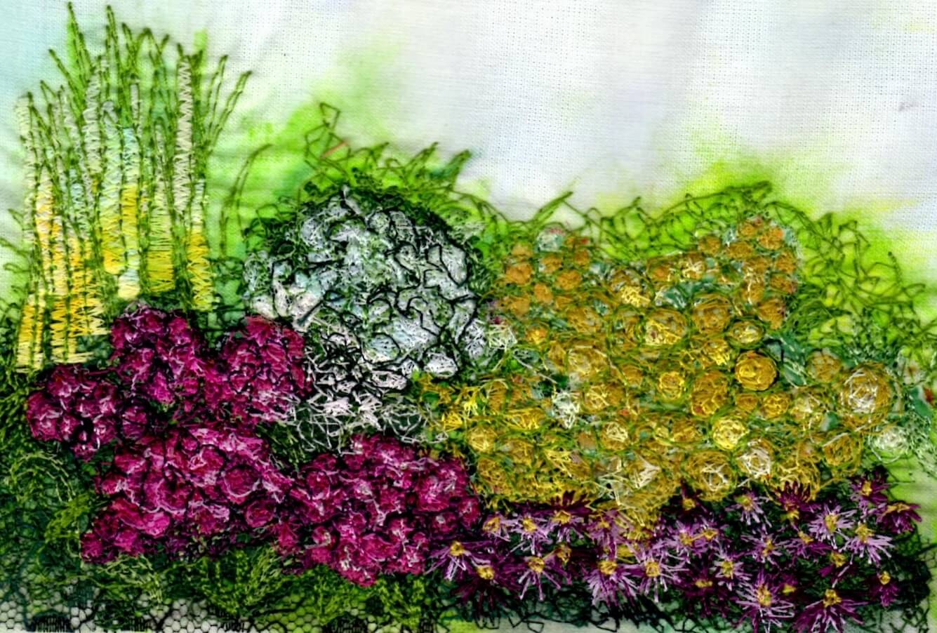 Free-Motion Embroidery. A stitched picture of a garden