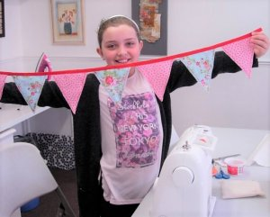 Martha's thrilled with her bunting