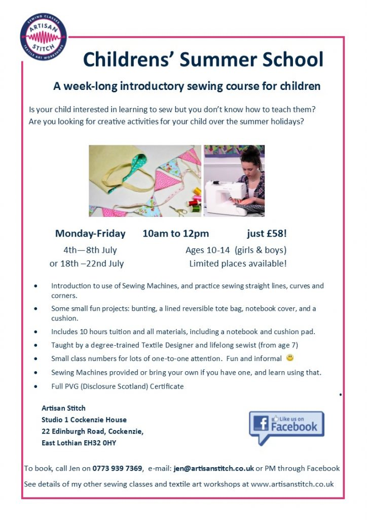 chldrens sewing course - flyer for childrens sewing classes