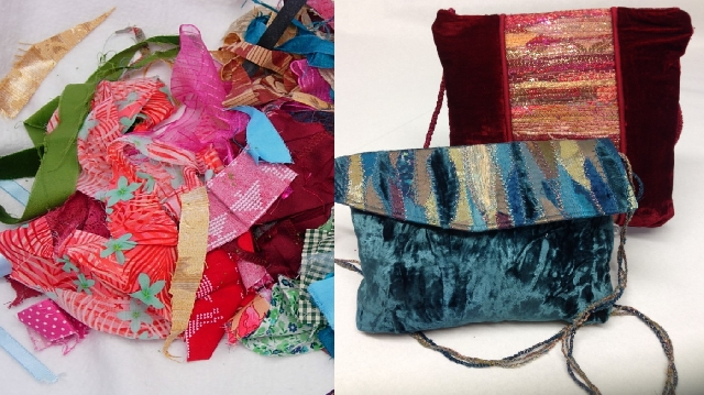 Rags to Bags. A pile of fabric leftovers is transfermed into a glamourous evening bag
