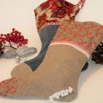 Christmas Stocking made with vintage linen and upcycled denim