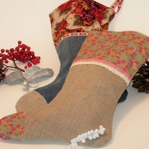 Beginners sewing day project to make. Christmas Stocking made with vintage linen and upcycled denim