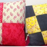 Beginners Sewing Day. Patchwork cushions made from craft cotton and upcycled denim and vintage fabrics