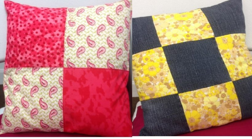 improvers Sewing Course. Patchwork cushions made from craft cotton and upcycled denim and vintage fabrics