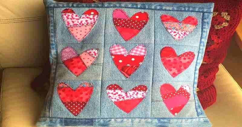 Patchwork hearts cushion - made from upcycled fabrics. a sewing project for Valentines Day