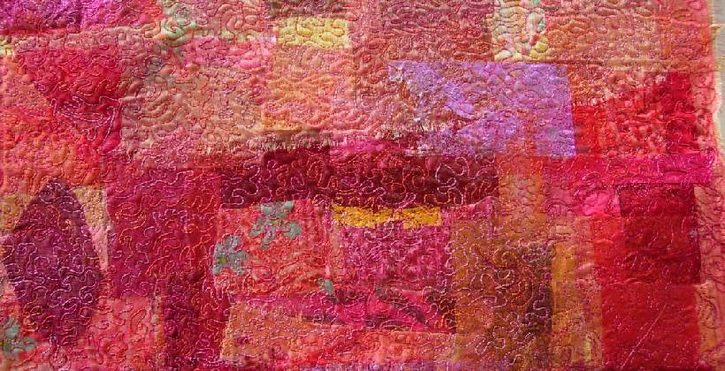 Rags to Riches - image shows am embroidered fabric made from scraps