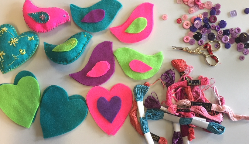 Kids craft course - hand and machine embroidery, and mixed media art projects