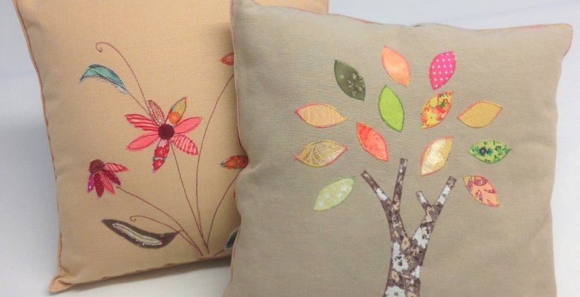 Applique cushion textile art class - two cushions