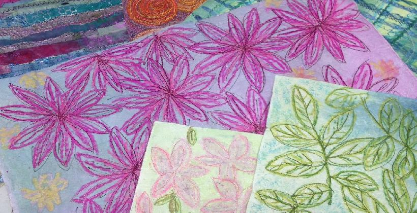 Paper Fabric - make a base for e. Colourful daisy and leaf patterned stitches textilespaper
