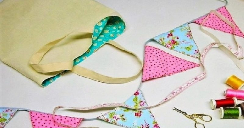 Bunting - kids sewing class to make a line of bunting in pink polka and floral patterns