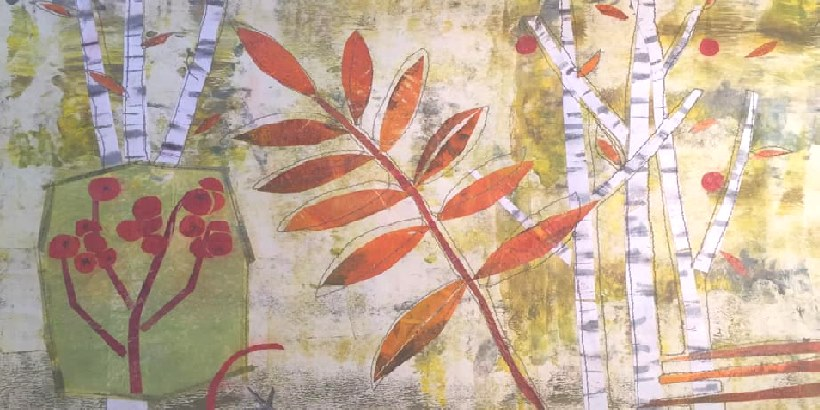 Monoprinting for Stitch - a stitch paper collage showing rowan trees, leaves & berries