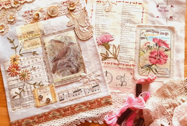 Vintage Embroidery - a hanging made from a vintage table napkin and lace doilies, showing an image of birds, with music manuscript and embroidery inspired by vintage motifs