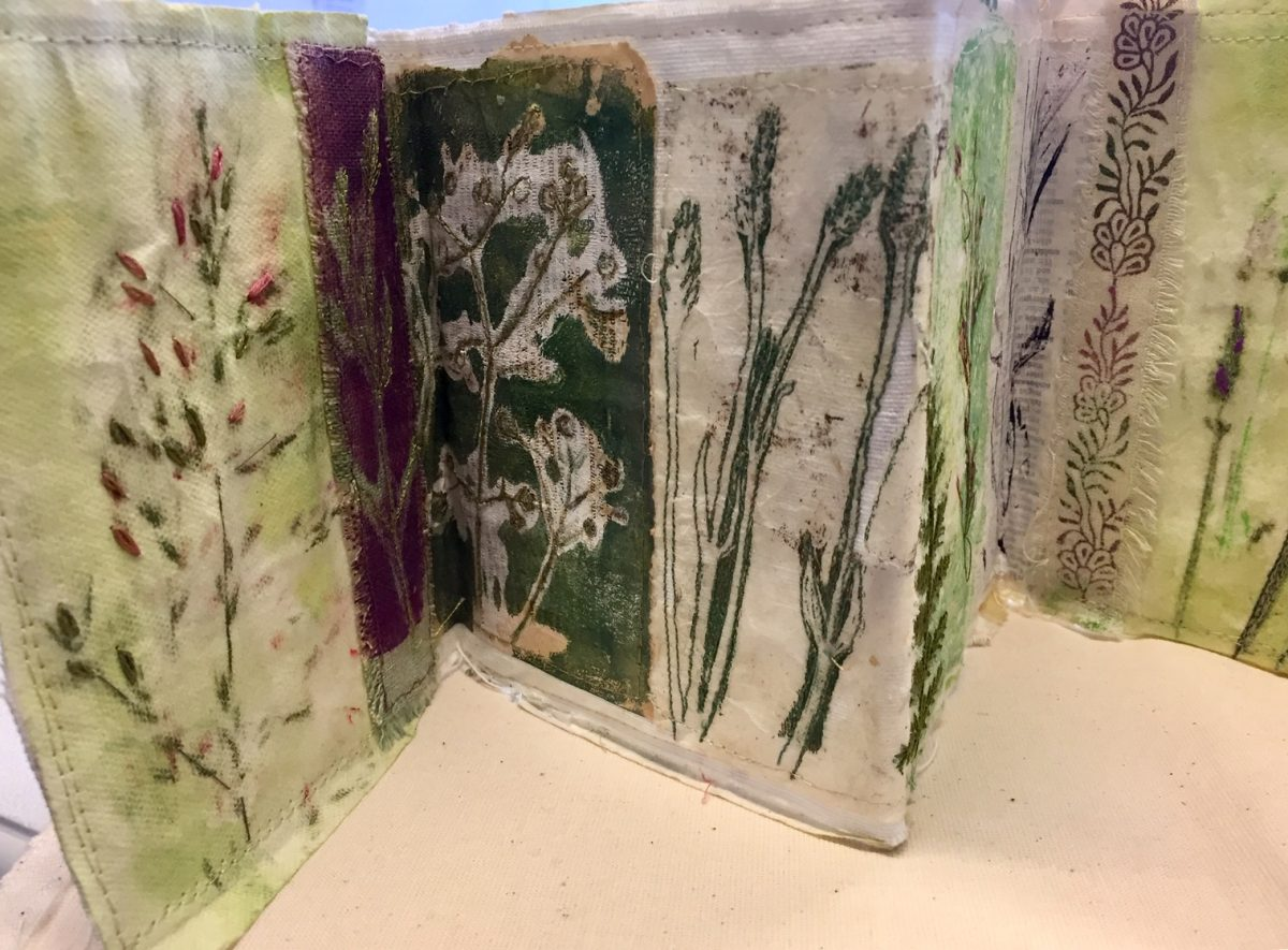 Monoprinting for stitch - folding book collage from prints of grasses and lavender stems