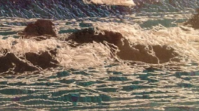 free-motion embroidery online. an image of a stitched seascapes
