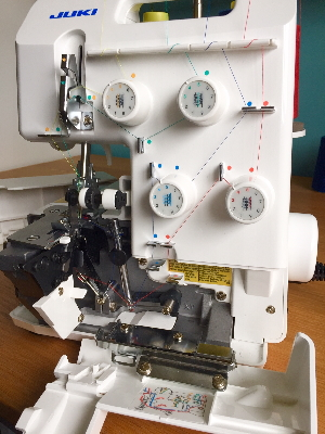Juki MO-644D overlocker review - image shows machine threaded with front safety cover open
